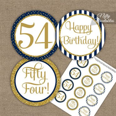 54th Birthday Cupcake Toppers - Navy Blue Gold