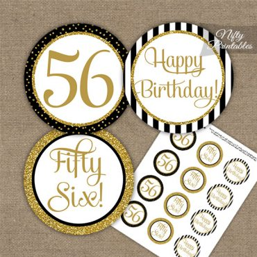 56th Birthday Cupcake Toppers - Black Gold