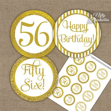 56th Birthday Cupcake Toppers - All Gold