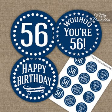 56th Birthday Cupcake Toppers - Navy White Impact