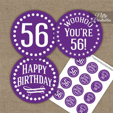 56th Birthday Cupcake Toppers - Purple White Impact