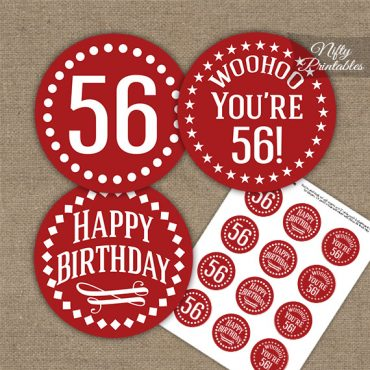 56th Birthday Cupcake Toppers - Red White Impact
