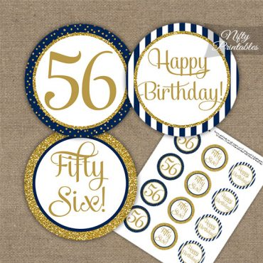 56th Birthday Cupcake Toppers - Navy Blue Gold