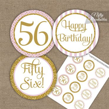 56th Birthday Cupcake Toppers - Pink Gold