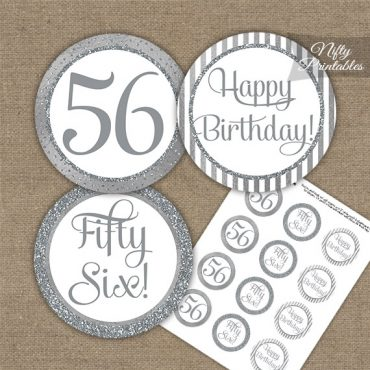 56th Birthday Cupcake Toppers - All Silver