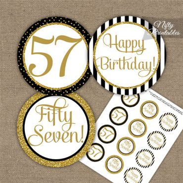 57th Birthday Cupcake Toppers - Black Gold