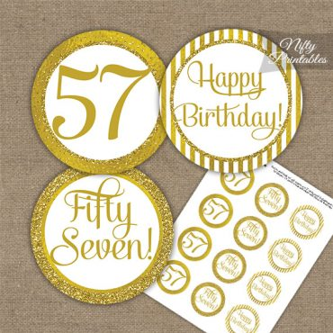 57th Birthday Cupcake Toppers - All Gold