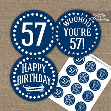 57th Birthday Cupcake Toppers - Navy White Impact