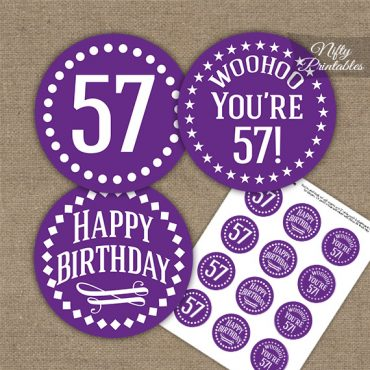 57th Birthday Cupcake Toppers - Purple White Impact