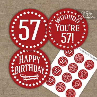 57th Birthday Cupcake Toppers - Red White Impact