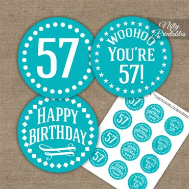 57th Birthday Cupcake Toppers - Turquoise White Impact