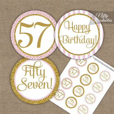 57th Birthday Cupcake Toppers - Pink Gold