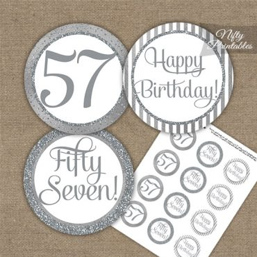 57th Birthday Cupcake Toppers - All Silver