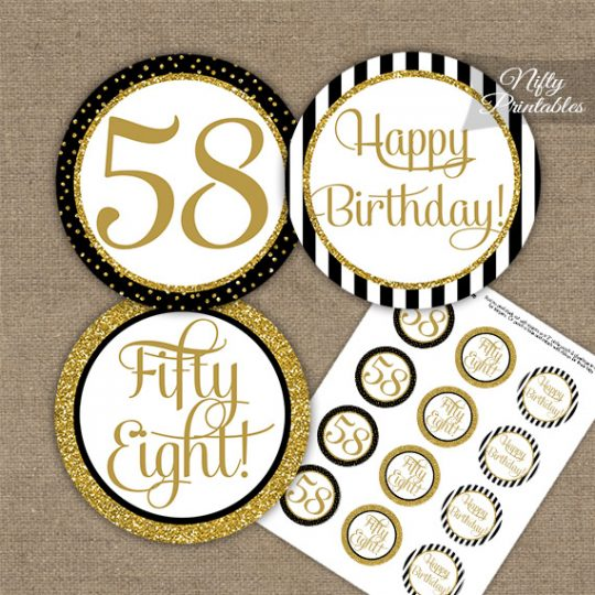 58th Birthday Cupcake Toppers - Black Gold