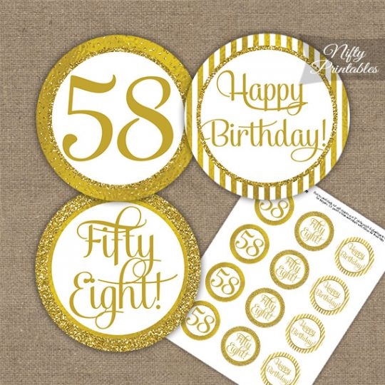 58th Birthday Cupcake Toppers - All Gold