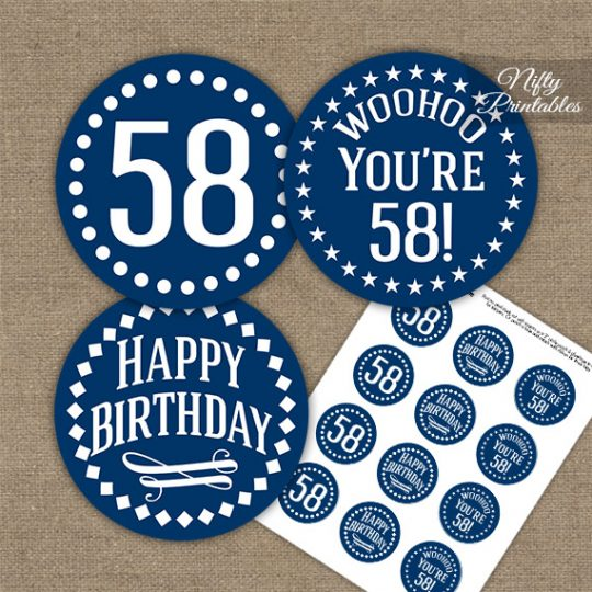 58th Birthday Cupcake Toppers - Navy White Impact