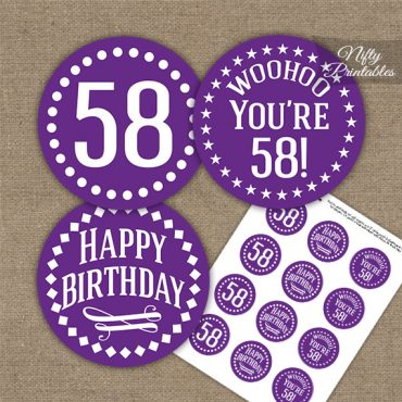 58th Birthday Cupcake Toppers - Purple White Impact