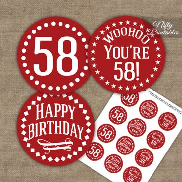 58th Birthday Cupcake Toppers - Red White Impact