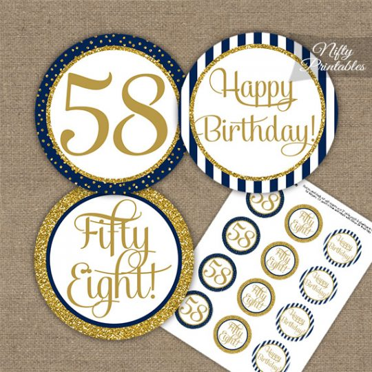 58th Birthday Cupcake Toppers - Navy Blue Gold