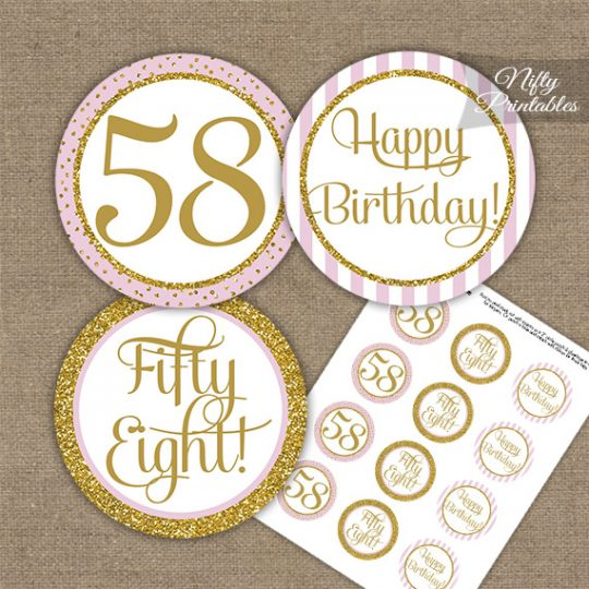 58th Birthday Cupcake Toppers - Pink Gold