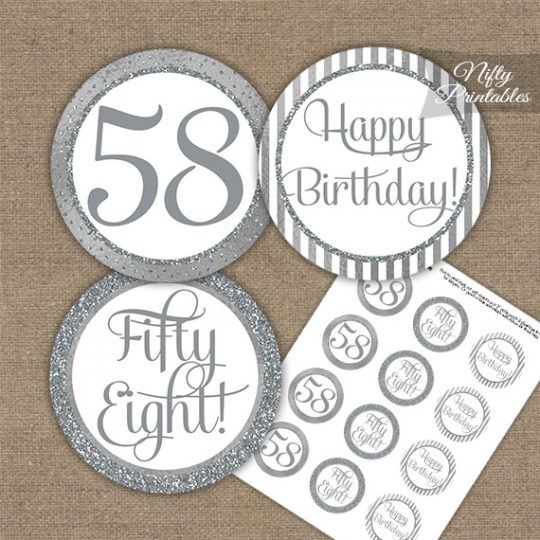 58th Birthday Cupcake Toppers - All Silver