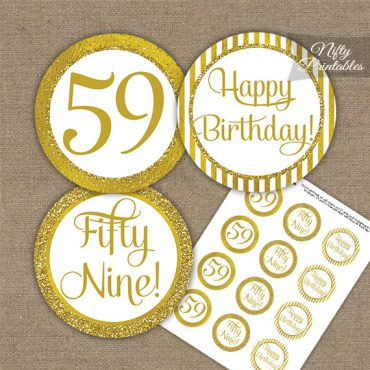 59th Birthday Cupcake Toppers - All Gold