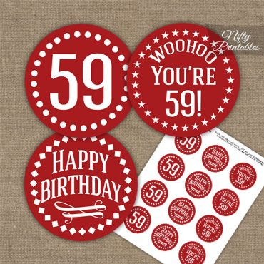 59th Birthday Cupcake Toppers - Red White Impact