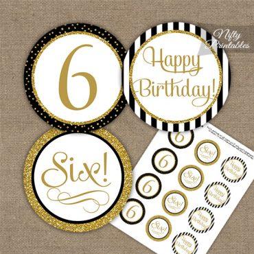 6th Birthday Cupcake Toppers - Elegant Black Gold