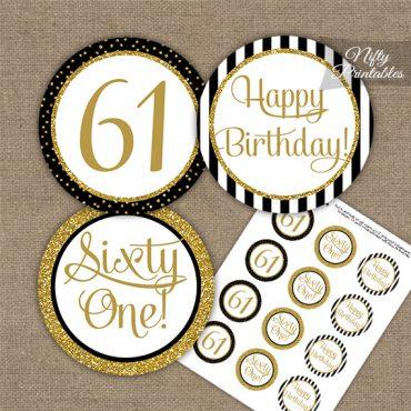 61st Birthday Cupcake Toppers - Black Gold