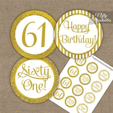 61st Birthday Cupcake Toppers - All Gold