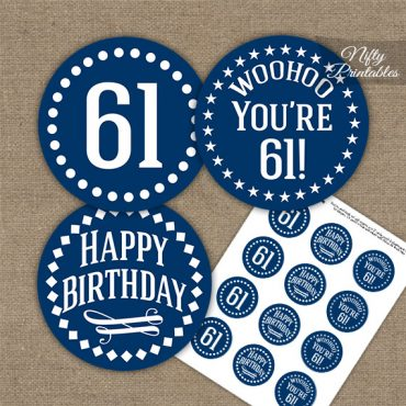 61st Birthday Cupcake Toppers - Navy White Impact
