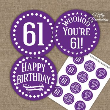 61st Birthday Cupcake Toppers - Purple White Impact