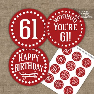 61st Birthday Cupcake Toppers - Red White Impact