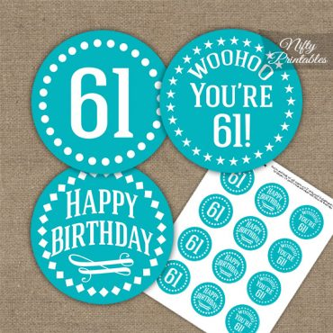 61st Birthday Cupcake Toppers - Turquoise White Impact