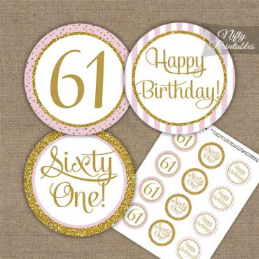 61st Birthday Cupcake Toppers - Pink Gold