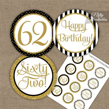 62nd Birthday Cupcake Toppers - Black Gold