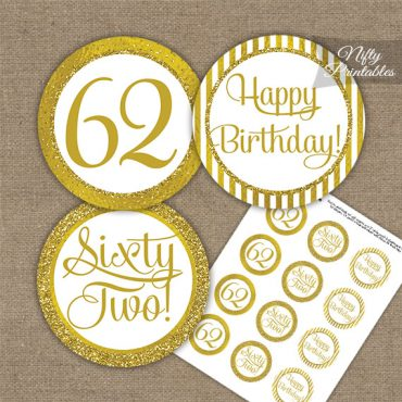 62nd Birthday Cupcake Toppers - All Gold