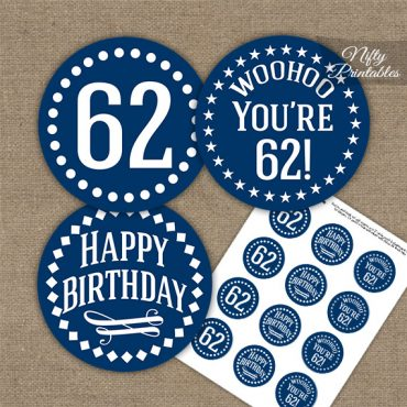 62nd Birthday Cupcake Toppers - Navy White Impact