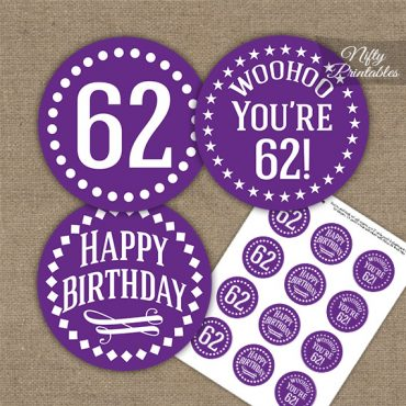 62nd Birthday Cupcake Toppers - Purple White Impact