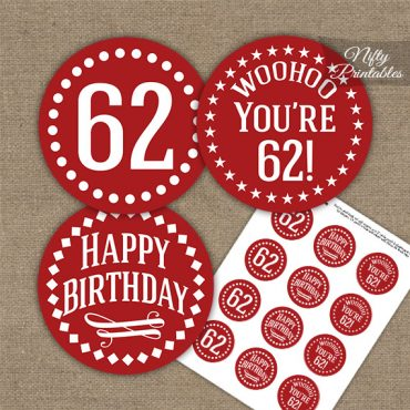 62nd Birthday Cupcake Toppers - Red White Impact