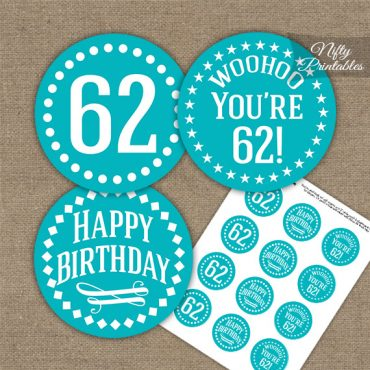 62nd Birthday Cupcake Toppers - Turquoise White Impact