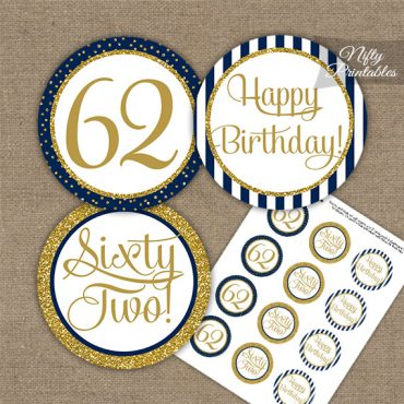 62nd Birthday Cupcake Toppers - Navy Blue Gold