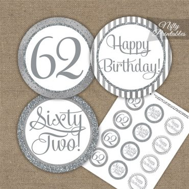 62nd Birthday Cupcake Toppers - All Silver