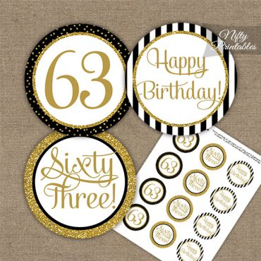 63rd Birthday Cupcake Toppers - Black Gold
