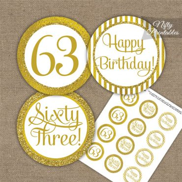 63rd Birthday Cupcake Toppers - All Gold