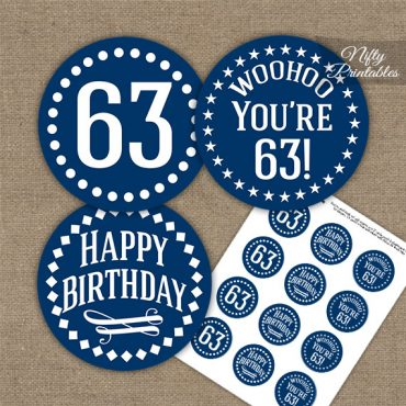 63rd Birthday Cupcake Toppers - Navy White Impact