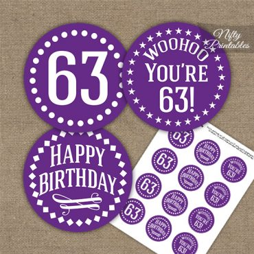63rd Birthday Cupcake Toppers - Purple White Impact