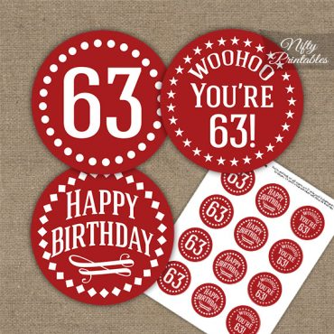 63rd Birthday Cupcake Toppers - Red White Impact