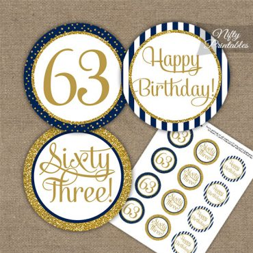 63rd Birthday Cupcake Toppers - Navy Blue Gold