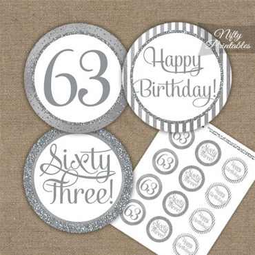 63rd Birthday Cupcake Toppers - All Silver